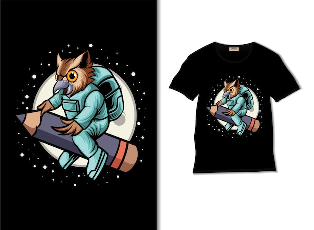 Weltraumeule fährt bleistiftillustration mit t-shirt-design