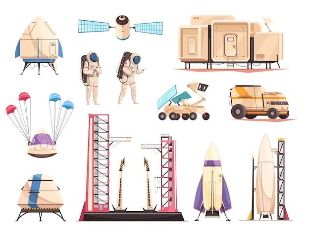Weltraumforschung technologie icons set