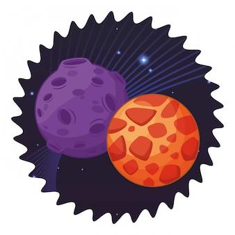 Weltraumforschung und planeten cartoon