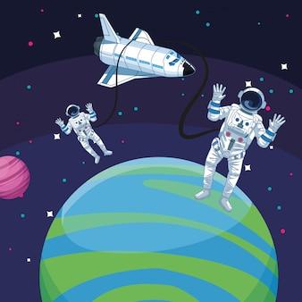 Weltraumforschungssatellitenplanet des astronautenraumfahrzeugs