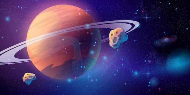 Weltraumgalaxiehintergrund mit saturnplanet und asteroidenkarikaturuniversumbeschaffenheit