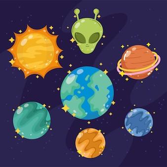 Weltraumgalaxienastronomie im karikaturstil stellte ikonenplaneten-aliensonnenillustration ein