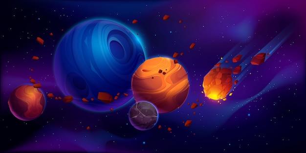 Weltraumillustration mit planeten und asteroiden