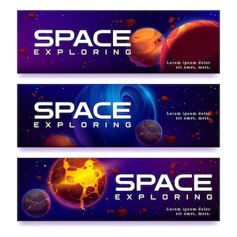 Weltraumillustration mit planeten- und asteroidenfahnen