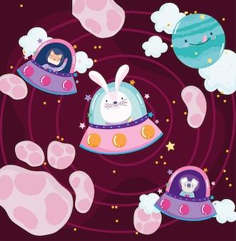 Weltraumkaninchen-koala und katze im raumschiff-planetenabenteuer erforschen karikaturillustration