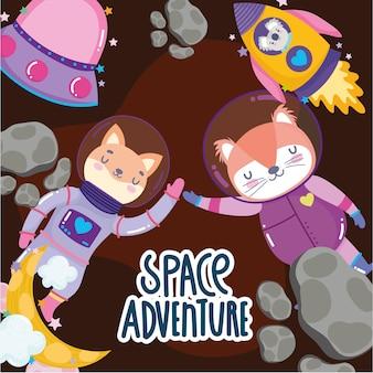 Weltraumkatzenfuchs und koala-raumschiff-ufo-raketenabenteuer erforschen tierkarikaturillustration