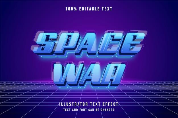 Weltraumkrieg, 3d bearbeitbarer texteffekt blaue abstufung neon futuristische ebenen stil effekt