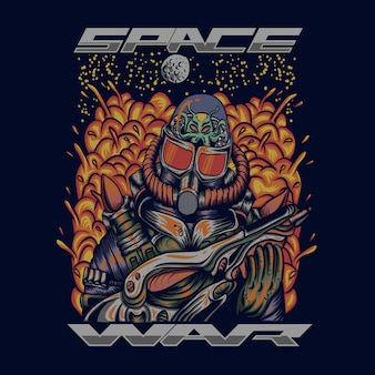 Weltraumkrieg-vektor-illustration