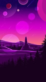 Weltraumlandschaft in lila tönen