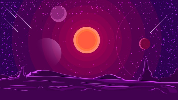 Weltraumlandschaft mit sonnenuntergang am purpurroten himmel