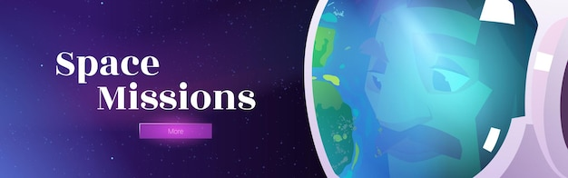 Weltraummissionen-banner mit astronaut im helm