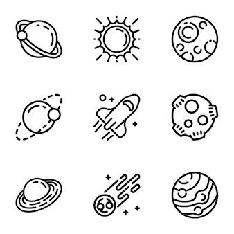 Weltraumplaneten-icon-set. gliederungssatz von 9 raumplanetenikonen