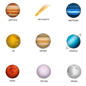 Weltraumplaneten-icon-set. realistischer satz raumplanetenikonen