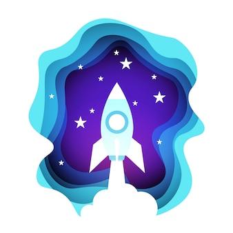 Weltraumrakete in nachthimmel über leuchtenden sternen