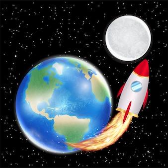 Weltraumrakete startet von der erde zum mond