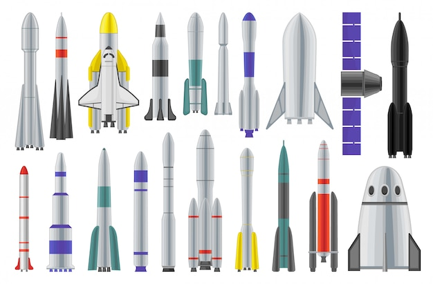 Weltraumraketen-cartoon-satzikone. raumschiff isolierte karikatursatzikone. illustrationsraumrakete auf weißem hintergrund.