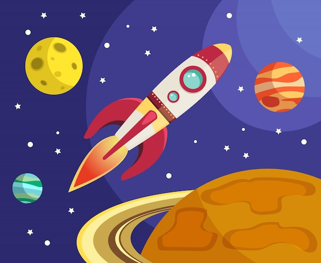 Weltraumraketenschifffliegen im raum mit planeten und sternen vector illustration