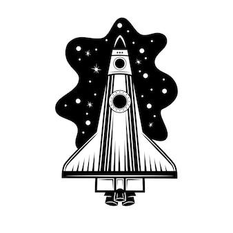 Weltraumraketenvektorillustration. raumschiff, raumschiff, shuttle