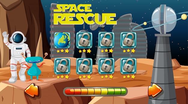 Weltraumrettungsspielhintergrund