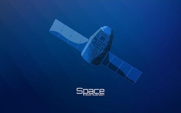 Weltraumsatellit im wireframe-stil