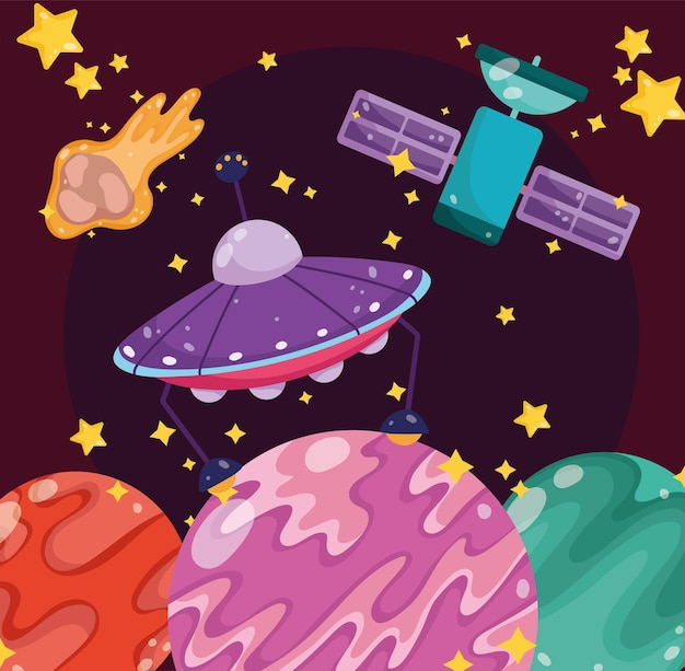 Weltraumsatelliten planeten ufo asteroid und sterne galaxie cartoon illustration