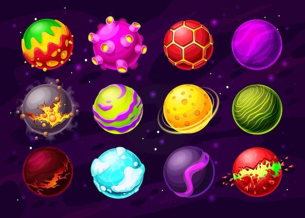 Weltraumspiel fantasy-planeten mit cartoon alien galaxy universum asteroiden