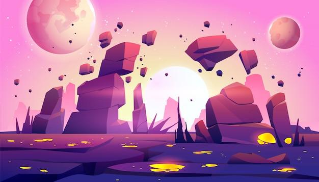Weltraumspielhintergrund mit landschaft des planeten