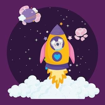 Weltraumstartrakete mit koala-astronauten-abenteuer erforschen tierkarikaturillustration