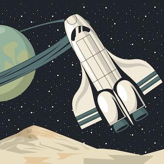 Weltraumszenenplakat mit raumschiff fliegen