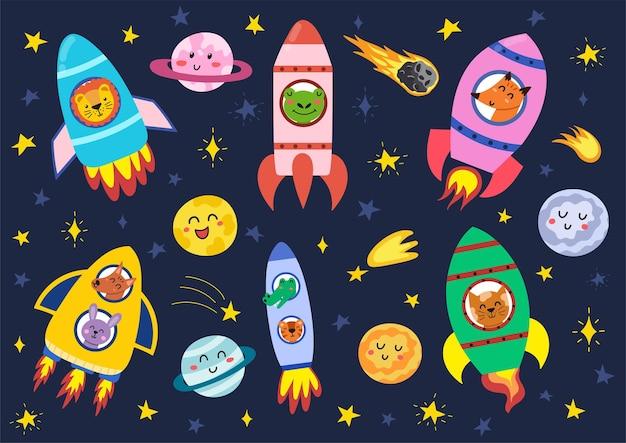 Weltraumtiere in ihren raketen setzen