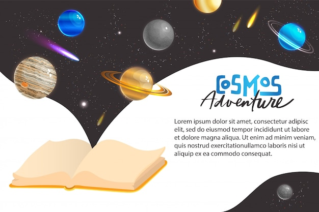 Weltraumuniversum abenteuer konzept illustration. virtuelle welt der virtuellen fantasy-galaxie des cartoons mit planetensatelliten-kometenmeteor oder -stern, entdecker-abenteurer-weltraumspaziergang im kosmos-banner