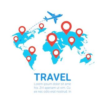 Weltreise mit dem flugzeug vorlage banner flugzeug fliegen über die erde karte mit roten navigationszeiger