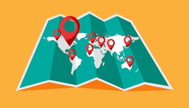 Weltreisekarte mit punkt auf ihr. standort auf einer globalen karte.