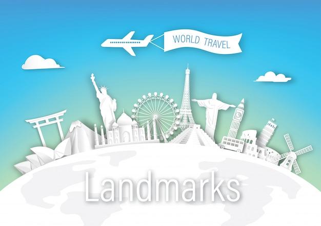 Weltreisemarksteinarchitektur von europa, von asien und von amerika