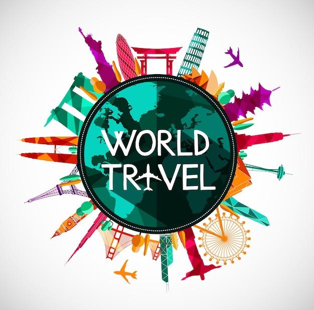 Weltreisenschablone mit flachem design der berühmten sehenswürdigkeiten