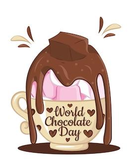 Weltschokoladentag-konzept schokoladenmilch mit marshmallow isoliert