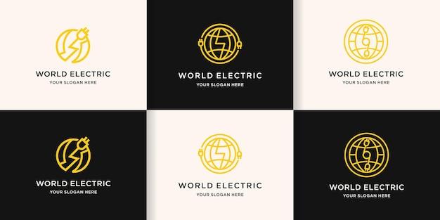 Weltstromlogo, kreisförmiges globuslinienlogo