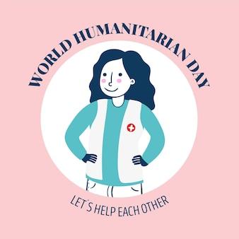 Welttag der humanitären hilfe mit arbeitern