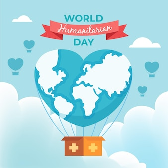 Welttag der humanitären hilfe mit herzförmigem planeten