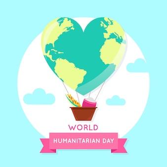 Welttag der humanitären hilfe mit herzförmigem planetenluftballon