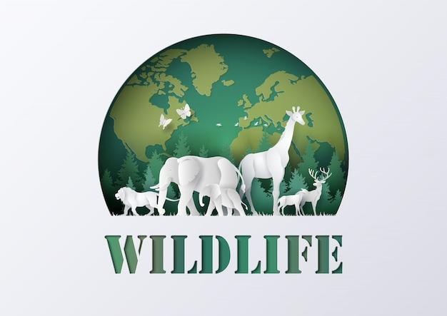 Welttag der wild lebenden tiere mit dem tier im wald