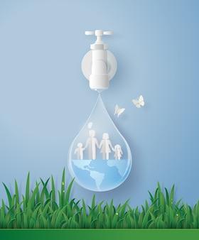 Welttag des wassers mit der familie.