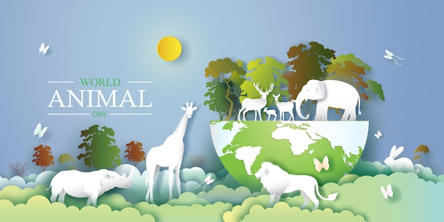 Welttierschutztag mit hirsch, elefant, löwe, giraffe, kaninchen, nashorn und schmetterling im wald