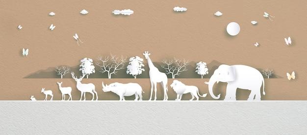 Welttierschutztag mit hirsch, elefant, löwe, giraffe, kaninchen und schmetterling in papierstruktur
