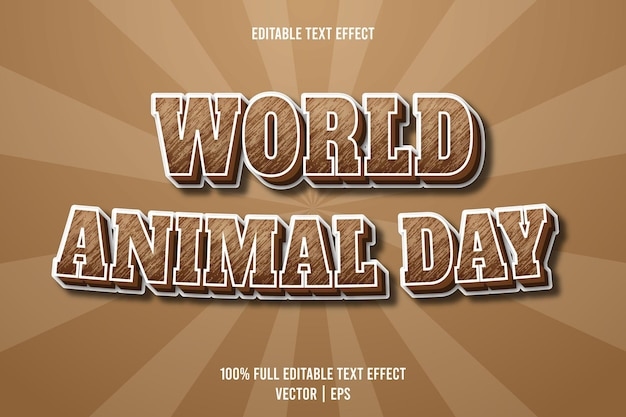 Welttiertag editierbarer texteffekt 3-dimensionaler präge-cartoon-stil