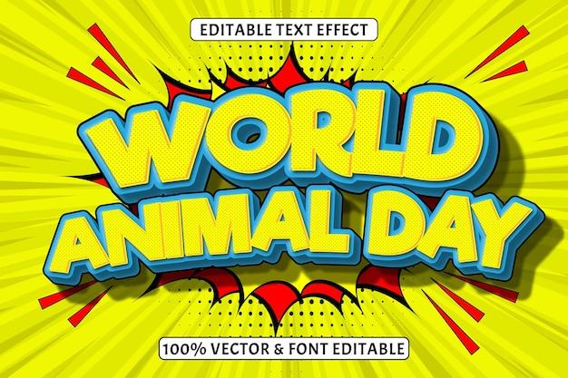 Welttiertag editierbarer texteffekt 3 dimensionen prägen comic-stil