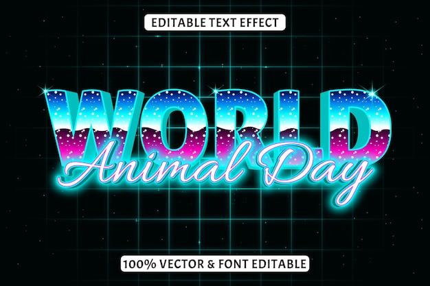 Welttiertag editierbarer texteffekt retro-stil