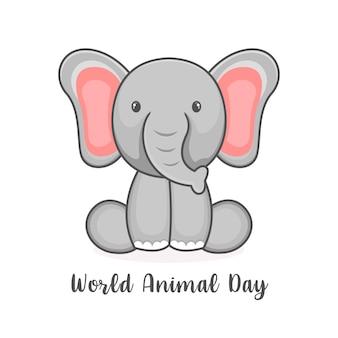 Welttiertagesplakatentwurfsschablone mit elefantenikone