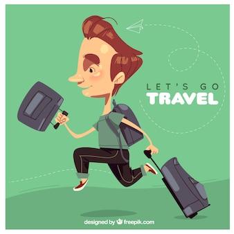 Welttourismus, ein mann, der die welt reist