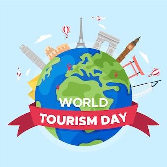 Welttourismus-tag des flachen designs
